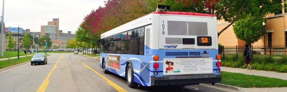 Bus in Fall - Pew Campus